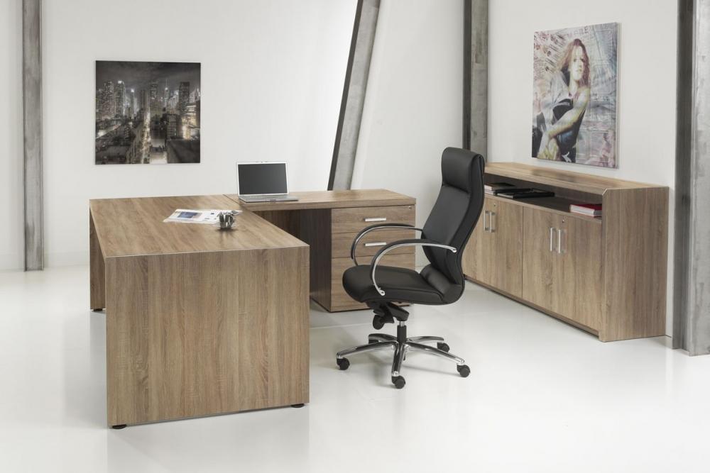 Nl219216r l bureau manager 210x210cm ladeblok 2e hands for 2e hands meubels